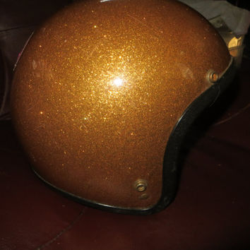 original 1960-70s     gold metal   flake  motorcycle   helmet  med to large