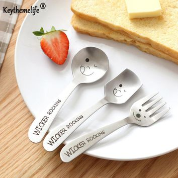 Keythemelife 1pc Creative Stainless Steel Tableware Smile Pattern Ice Cream Tea Coffee teaspoons Dinnerware Baby Gift BF