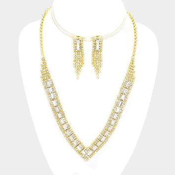 Emerald Cut Crystal Necklace & Earring Set