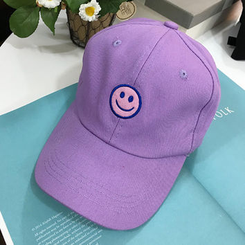 Smile Baseball Cap Curved Peak Hat Hip-Hop Hat