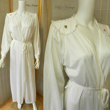 White Satin Dressing Gown / Vintage  Satin and Duster / Lingerie Robe Size S/M