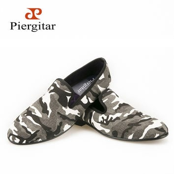 New Design White & Grey & Tan Camouflage Casual Men's Denim Loafer For Daily Party Prom and Banquet men's flats