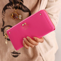 Women's Fashion BowKnot Leather Zip Clutch Wallet Lady Long Purse Bag Handbag Card Holder