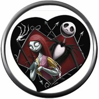 Nightmare Before Christmas Jack Skellington And Sally In Heart 18MM - 20MM Charm for Snap Jewelry New Item