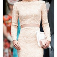 Beige Champagne Floral Scallop Lace Long Sleeve Boat Neck Bodycon Midi Dress - Inspired by Kate Middleton