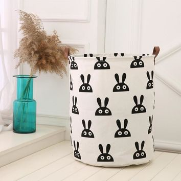 Large 40*50cm Folding Laundry Basket Cartoon Storage Barrel Canvas Dirty Clothes Basket Toy Bra Sock Storage Basket/Bucket