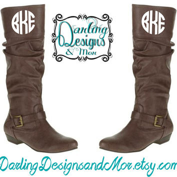 Monogrammed Knee High Boots