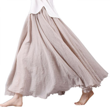 Women Summer Long Skirts Linen Cotton Elastic Waist Pleated Maxi Skirts Beach Boho Vintage Skirts