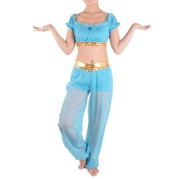 Kids Princess Jasmine Costumes Aladdin Genie Outfit Fancy Dress Belly Dancer Costume Halloween Costumes for Children Party Dress