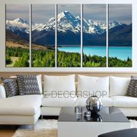 Large Wall Art Wonderful Snowy Mountains and Bright Lake in Forest Landscape Canvas Print Framed 5 Panel Canvas