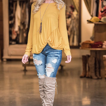 Sealed With a Twist Long Sleeve Top (Mustard)