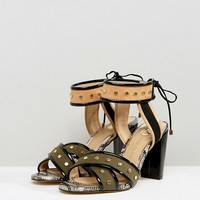 River Island Wide Fit Suede Studded Strap Heeled Sandals at asos.com
