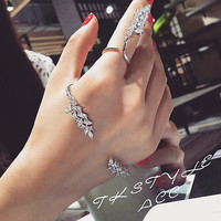Crystal Diamond Rhinestone Hand Palm Cuff Bracelet Ring Set Jewelry Accessory UK | eBay