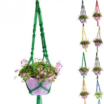 Garden Potted Plants Holding Net Plant Pot Hanger Macrame Jute For Indoor Outdoor Ceiling Holder Hanging Baskets
