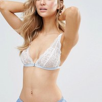 Glamorous Cornflower Blue Lace Triangle Bra at asos.com
