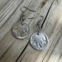 Buffalo nickel coin earrings. Dangle coin earrings. American Indian coin.