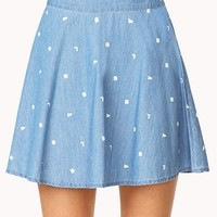 FOREVER 21 Alphabet Chambray Skater Skirt Denim/White Large