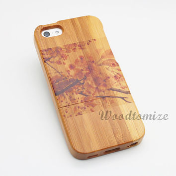 Real wood case, Flower painting, Chinese style, Eastern style, iPhone 5C case, iPhone 5S 5 case, Wood cover, Bamboo, FREE protector [A12]