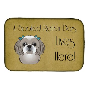 Gray Silver Shih Tzu Spoiled Dog Lives Here Dish Drying Mat BB1498DDM