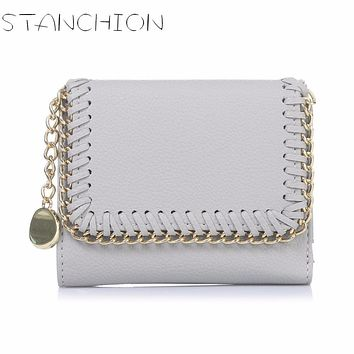 STANCHION Female European And American Style Weave Wallet Vintage Women Brand Small Lock Design Purse Small Zipper Coin Wallet