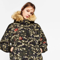 CAMOUFLAGE EMBROIDERED BOMBER JACKET