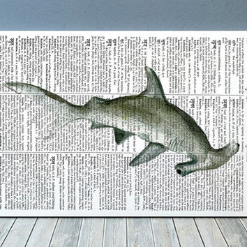 Beach house art Shark poster Nautical print Dictionary print RTA1839