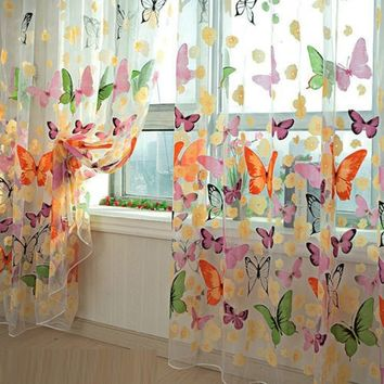 200cm x 100 cm Butterfly Print Sheer Window Panel Curtains Room Divider New for living room bedroom