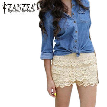 Plus Size S M L Xl Xxl New Summer Fashion Womens Shorts Sweet Style Lace Crochet Elastic Waist Slim Short Pants