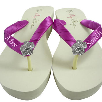 Design your own Bridal Flip Flops-personalized Rose Rhinestone- Wedding Flip Flops- Festive Fuchsia- Ivory Wedge White Platform-Mrs Name