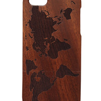 World Map print Iphone 5 /5s/ 6 wooden engraved bamboo phone case cover