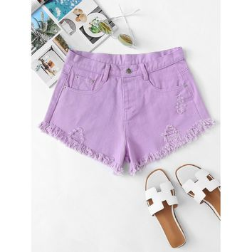 Frayed Hem Ripped Denim Shorts Purple