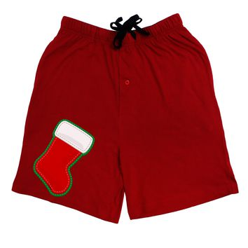 Cute Faux Applique Christmas Stocking Adult Lounge Shorts - Red or Black by TooLoud