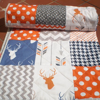 Modern Baby quilt-baby girl bedding,baby boy bedding,Patchwork crib quilt,toddler,navy blue,grey,orange,deer,stag,arrows,chevron,Navy Stag