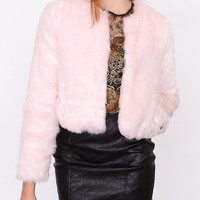 Cotton Candy Faux Fur Crop Jacket Pink