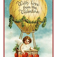 Victorian Valentine Cupid Hot Air Balloon Counted Cross Stitch Pattern