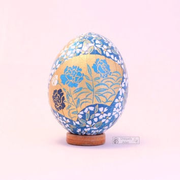 Gold and teal blue washi egg, oriental easter egg with roses, Japan paper mache egg ornament, handmade gift, cherry blossoms