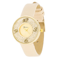 Floating Crystal Watch - Beige
