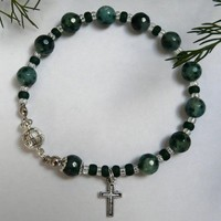 Green Moss Agate Meditation Bracelet Free Worldwide Shipping €15.00