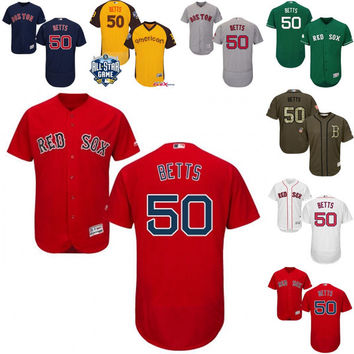 Cheap White Gray Mookie Betts Authentic Jersey , Men's #50 Majestic MLB Boston Red Sox Flexbase Collection stitched s-4xl