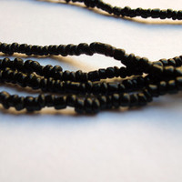 Black Murano glass beads from Venice, Italy bead strand supply