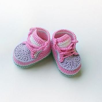 Pink crochet baby sneakers, Pink crochet baby shoes, Pink converse shoes, Toddler croc