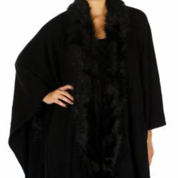 Fur Trim Floral Cape One Size in 2 Colors