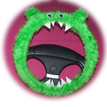 Fabulous Fuzzy Lime Green Monster car steering wheel cover faux fur fluffy furry fun with googly eyes, ears and teeth