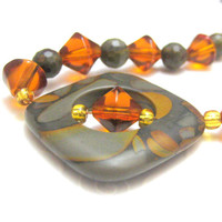 Handmade Tigers Eye Amber and Gold Crystal by silverriverjewelry