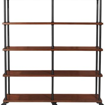 Industrial Mansard Double Bookshelf - Open Bookcases - Bookcases - Furniture | HomeDecorators.com