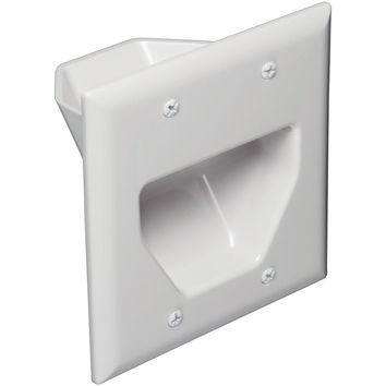 Datacomm Electronics 2-gang Recessed Cable Plate (white)