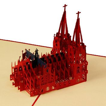 (10 pieces/lot)Handmade Creative 3D Pop Up Cologne Cathedral Greeting Cards