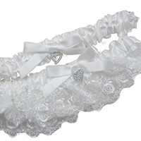 Heart Charm White Ivory Lace Wedding Garter Set with Bow, Bridal and Prom Gift