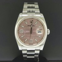 Rolex Datejust 36mm Steel 18k Fluted Bezel Pink Wave 6/9 Diamond Dial Ref 116234