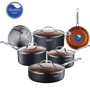 Cooksmark 10Pc Cookware Set Round Kitchenware Lids Pans Non-Stick Induction NEW